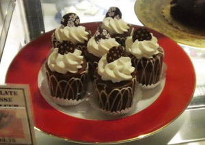 Chocolate Mousse Tulip Cups in the display case