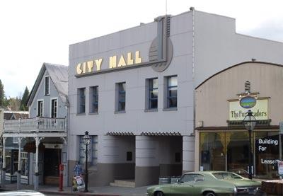 Nevada City art -deco City Hall building across the street of the New York Hotel.