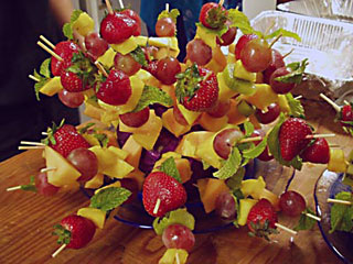 A closeup of a fresh fruit kabob gourmet dessert created and catered by the Truffle Shop in Nevada City, CA for an entertainment event in Grass Valley, CA.