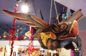 A flying pig sculpture from the Orient that decorates the Truffle Shop.