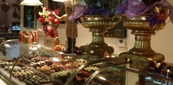 The attention to detail of every hand-made chocolate dessert shows in the beautiful decoration of the Truffle Shop