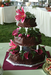 A Truffle Shop gourmet chocolate torte wedding cake created and catered by the Truffle Shop for a Hawaiian-themed wedding in Grass Valley, CA